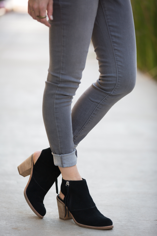 gray skinny jeans and black dolce vita jentry mule booties, M Loves M {click through for more photos and product info}
