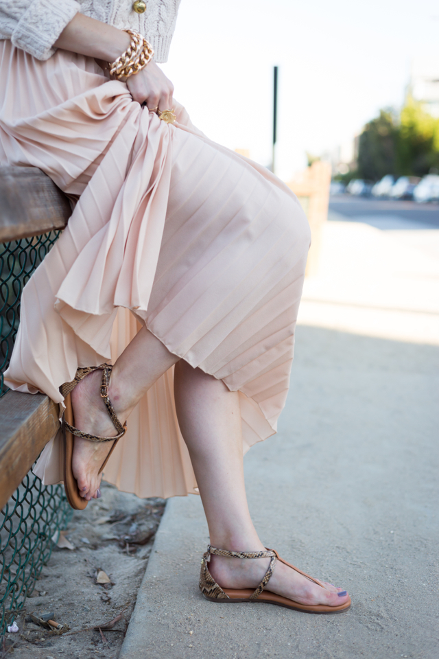 """pleated maxi skirt from Chicwish with t-strap yosi samra """"rae"""" sandals, M Loves M @marmar"""