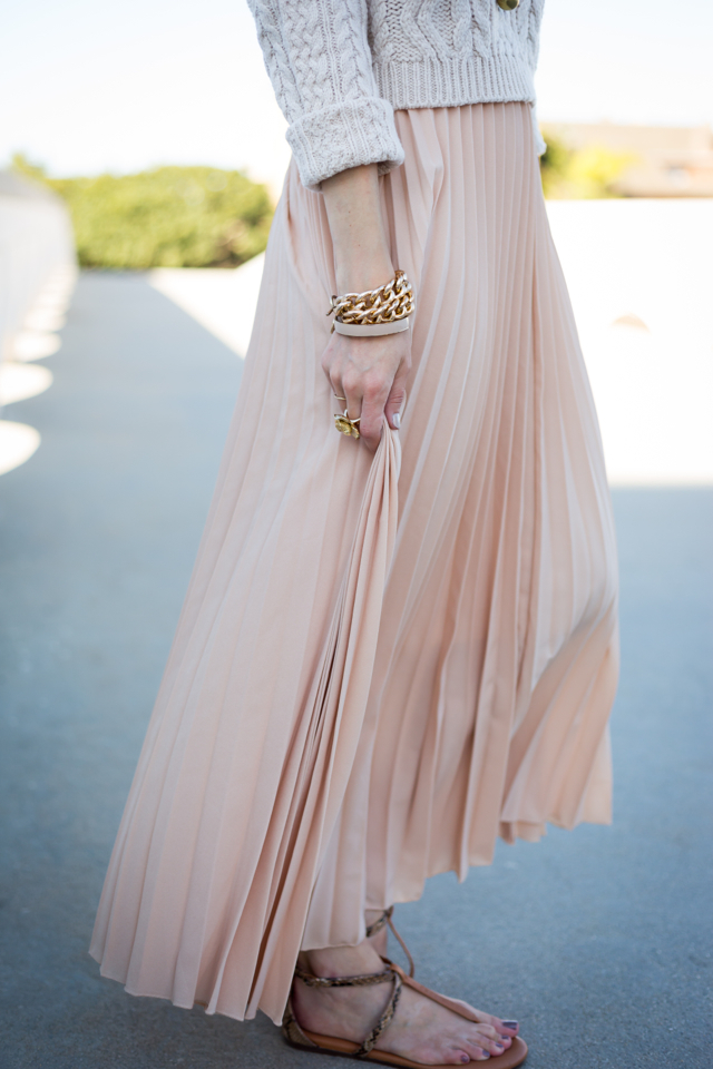 pleated maxi skirt with brown sandals via M Loves M @marmar