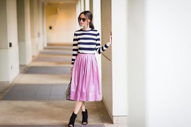 striped top with full midi skirt via M Loves M @marmar