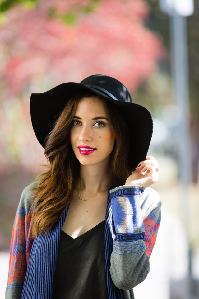 fall outfit with cynthia vincent cardgian and hat via M Loves M @marmar