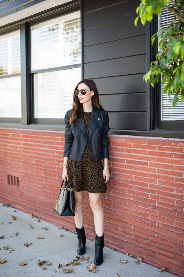 animal print dress with faux leather moto jacket on M Loves M @marmar