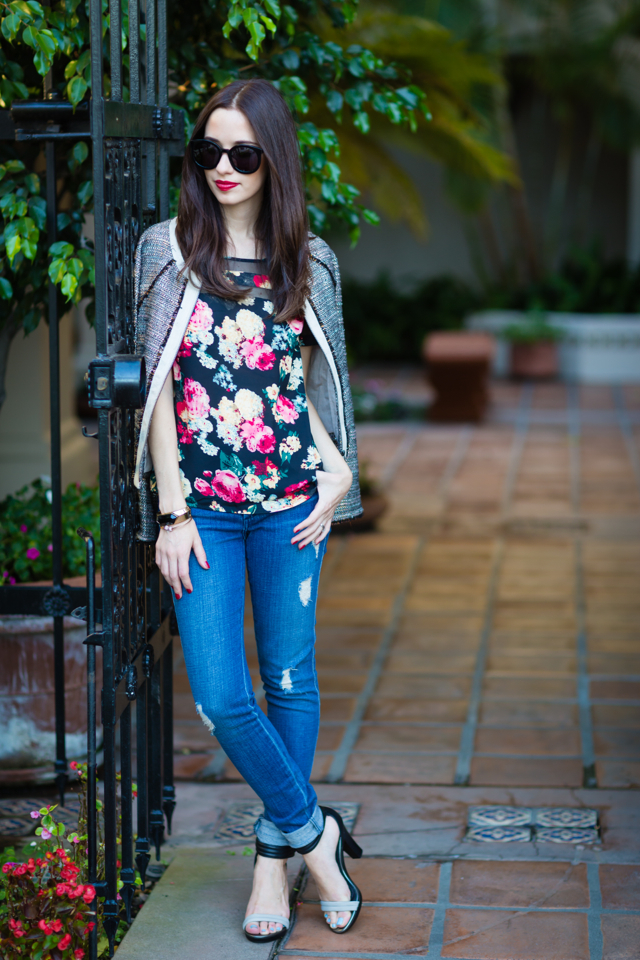dark floral blouse with distressed jeans via M Loves M @marmar