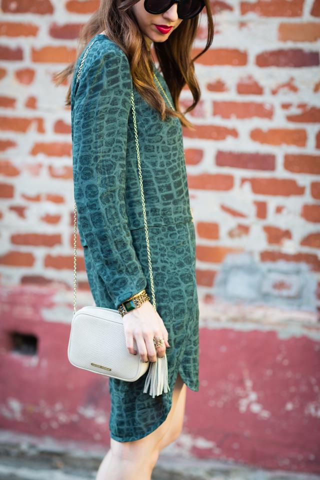 Lauren Merkin Meg bag and French Connection green dress on M Loves M @marmar