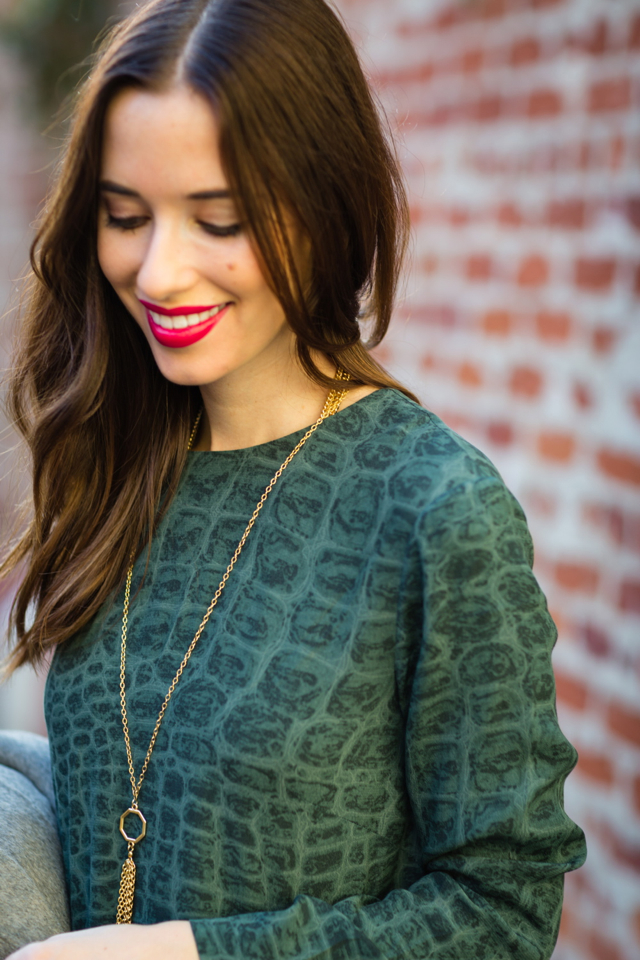 green snake print dress with gold pendant necklace on M Loves M @marmar