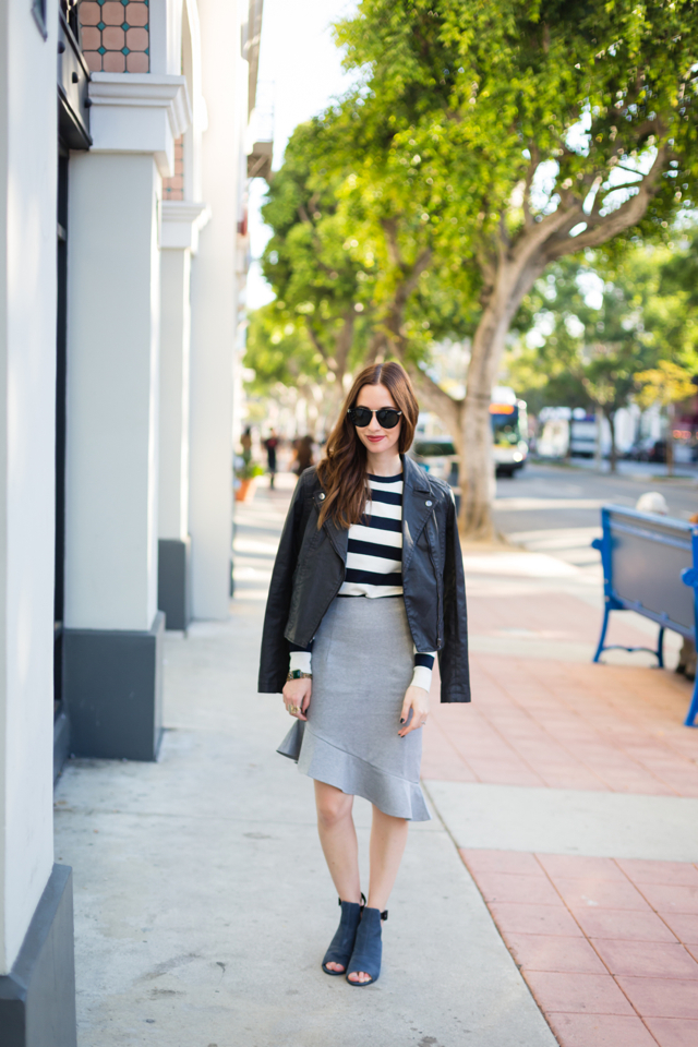 striped sweater and ruffled skirt on M Loves M @marmar