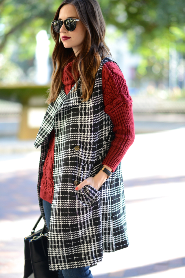 burgundy sweater with sleeveless tartan trench coat on M Loves M @marmar