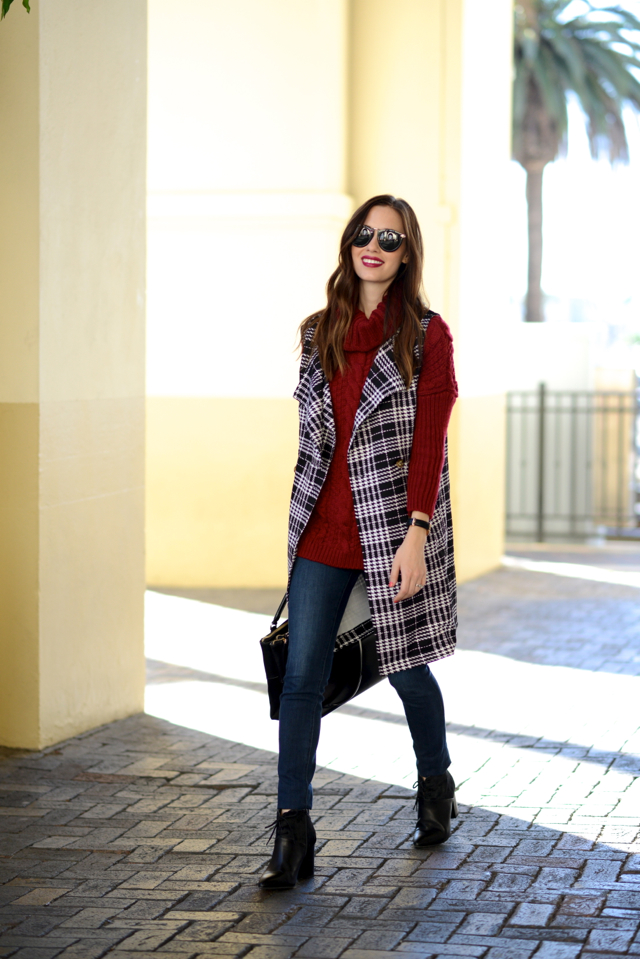 fall outfit with burgundy sweater and plaid vest on M Loves M @marmar