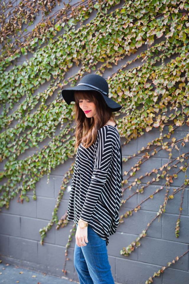 black floppy hat and striped top M Loves @marmar