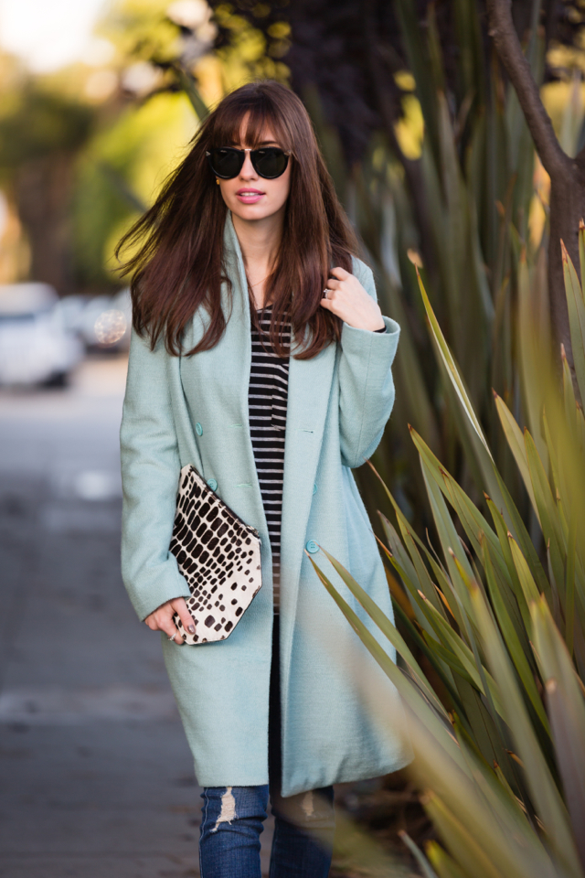 brunette bangs and mint coat via M Loves M @marmar