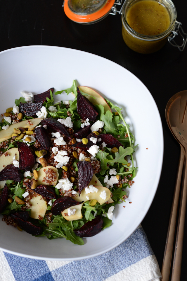 arugula salad with apples, roasted beets, feta, pistachios and quinoa M Loves M @marmar