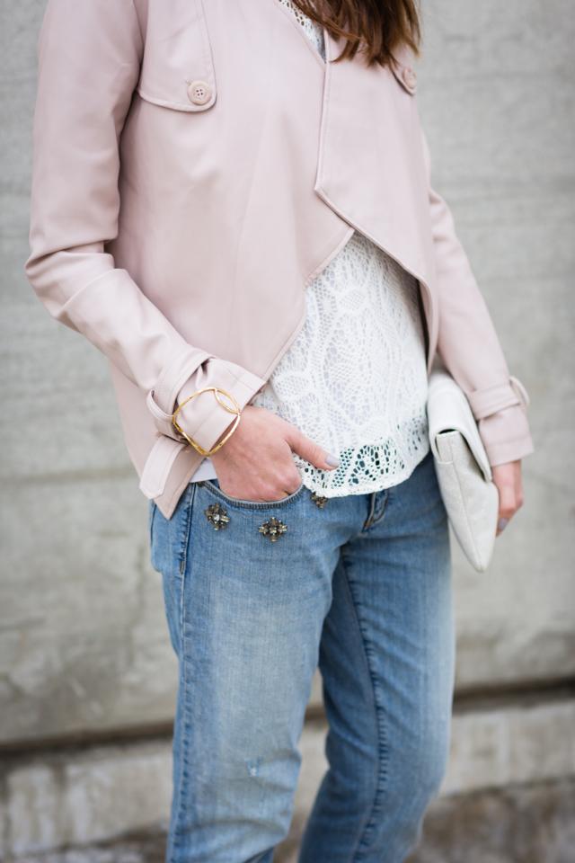 bb dakota blush faux leather jacket and loft embellished jeans M Loves M @marmar