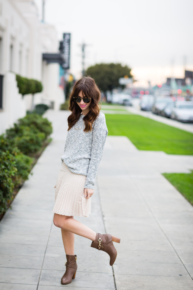 gray sweater and blush colored skirt M Loves M @marmar