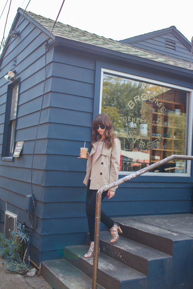 tan trench coat with pink top and black jeans M Loves M @marmar