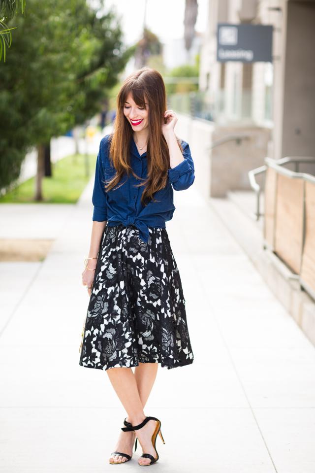 chambray skirt and black lace midi skirt M Loves M @marmar