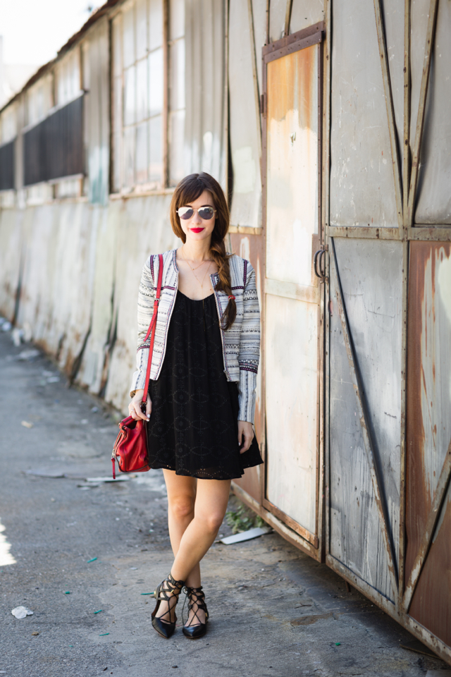 black embroidered dress with jacket and black lace up flats M Loves M los angeles blogger @marmar