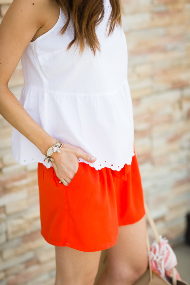 white peplum blouse with orange drawstring shorts cute vacation style outfit M Loves M @marmar