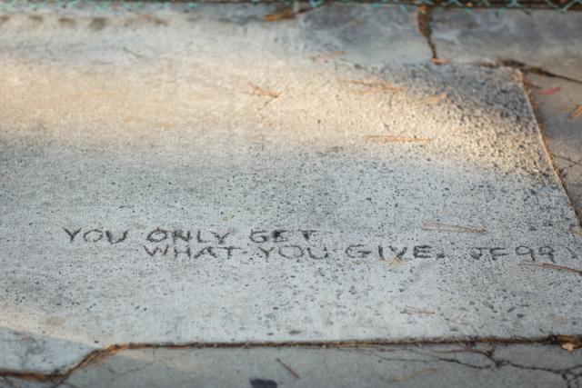 quote written in the sidewalk M Loves M @marmar