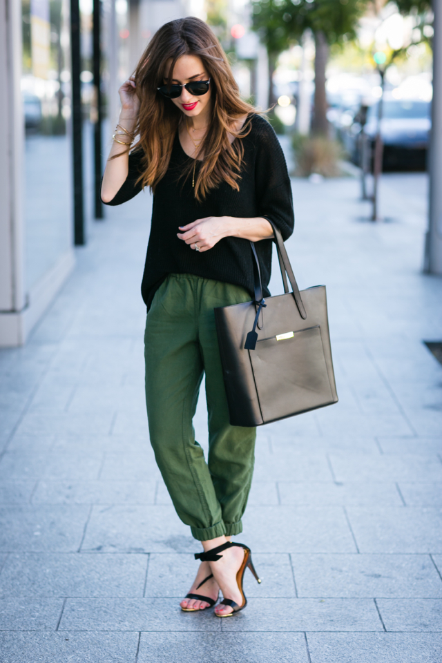 black sweater with green pants M Loves M @marmar