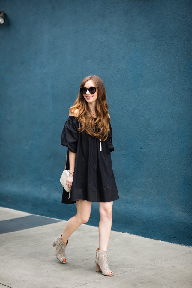 black off-the-shoulder dress with studded booties M Loves M @marmar
