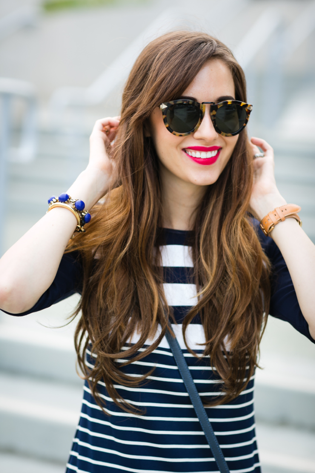 navy and white striped dress with red matte lipstick M Loves M @marmar