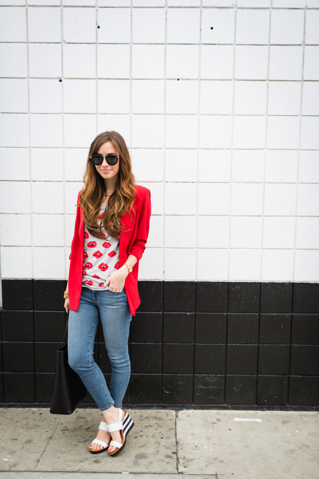 red blazer with lip print tee and cropped jeans M Loves M @marmar