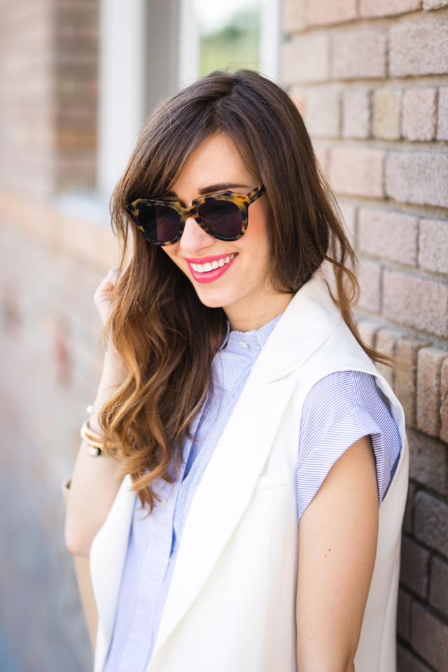 wavy brunette hair and blue stripe popover from j.crew on M Loves M @marmar