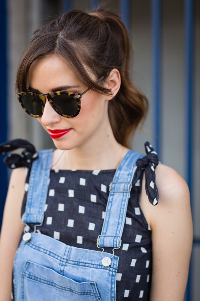 geometric tie top with anthropologie overalls M Loves M @marmar