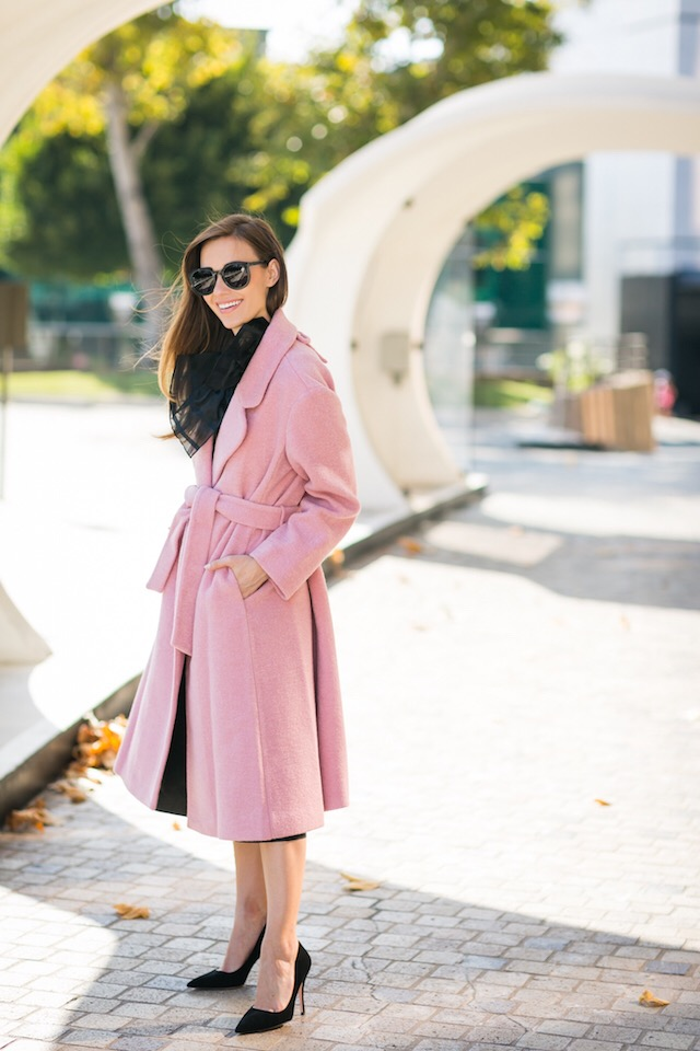 pink coat with all black outfit M Loves M @marmar