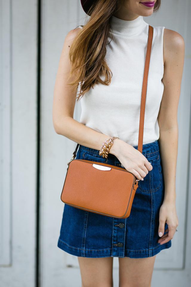 denim skirt and brown crossbody bag M Loves M @marmar