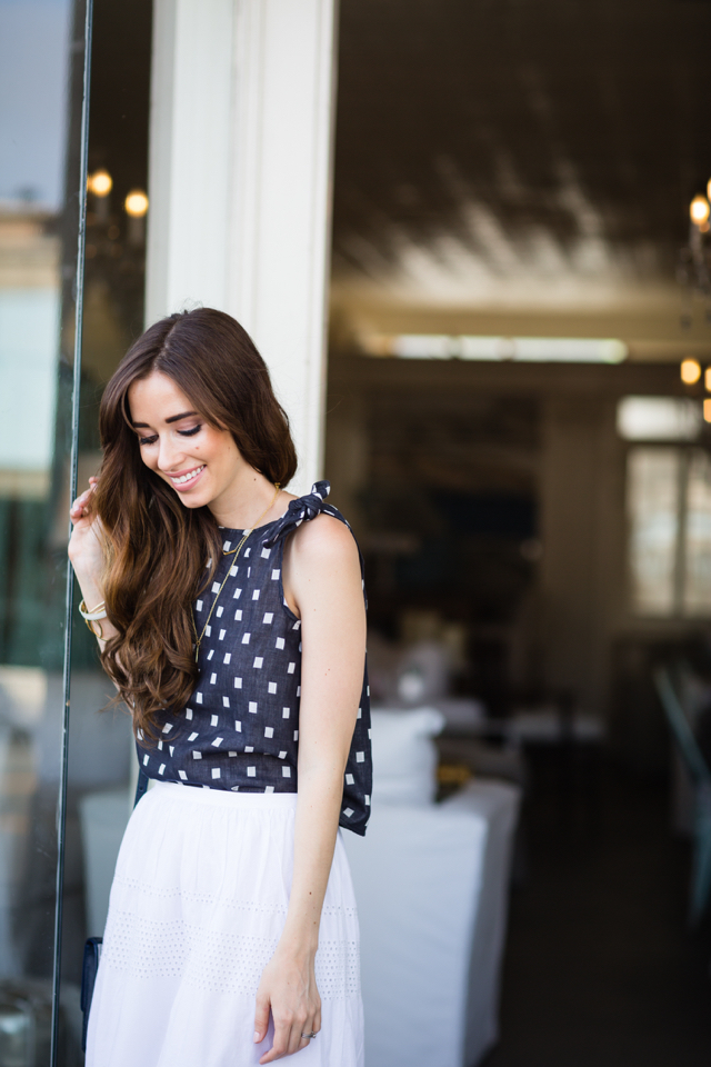 tie top with white skirt M Loves M los angeles fashion blogger @marmar