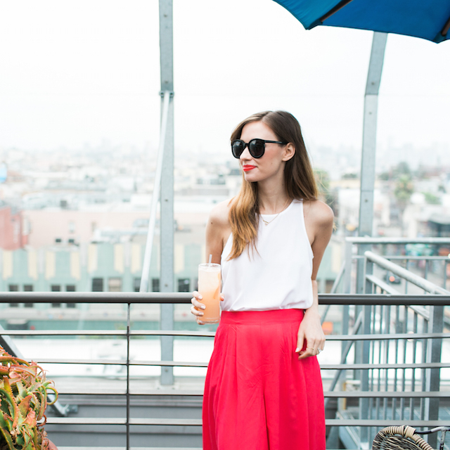 white tank and bright pink culotte pants M Loves M @marmar