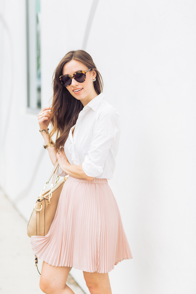 white button up with pleated pink skirt M Loves M @marmar