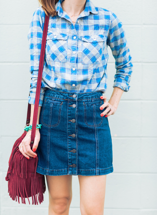 blue plaid flannel with denim a-line skirt M Loves M @marmar