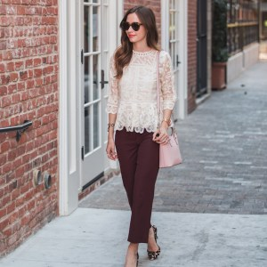 lace top and maroon pants M Loves M @marmar