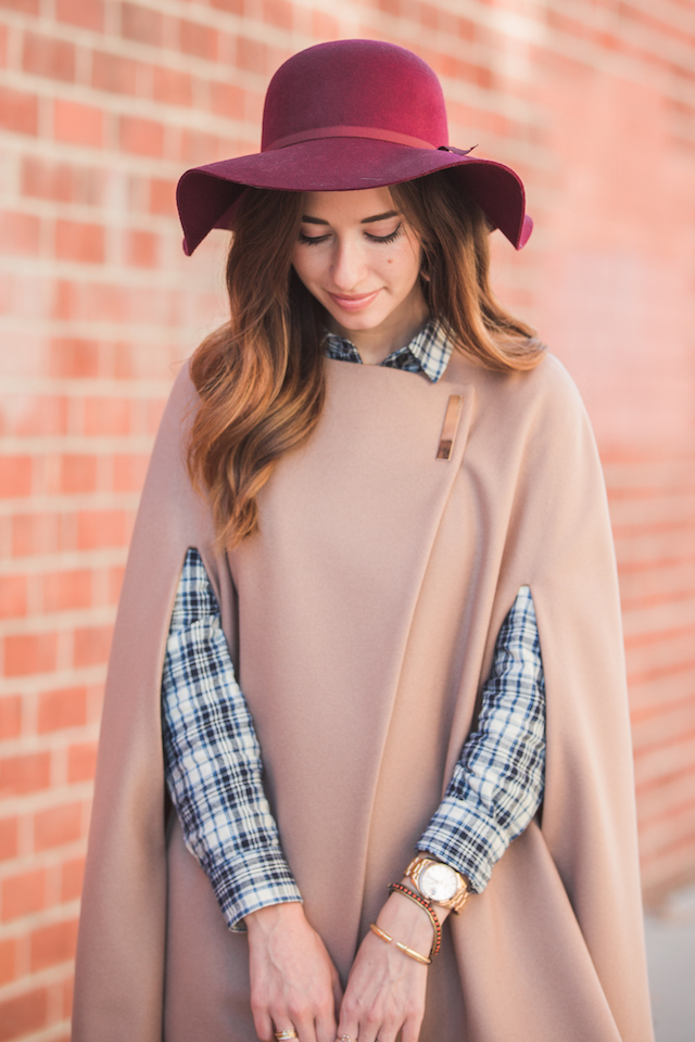 cute fall outfit with maroon floppy hat, tan cape poncho and plaid buttom up M Loves M @marmar