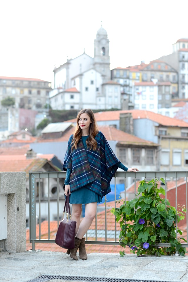 blue plaid poncho with dress on M Loves M in Portugal @marmar