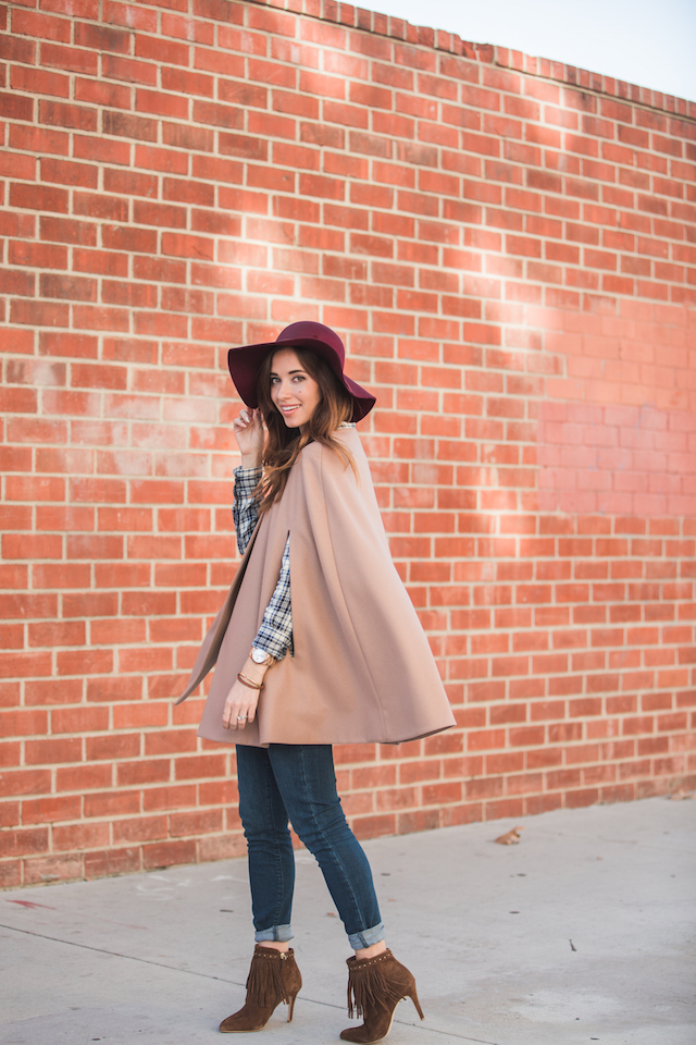 pretty fall outfit inspiration with plaid shirt and tan poncho M Loves M @marmar