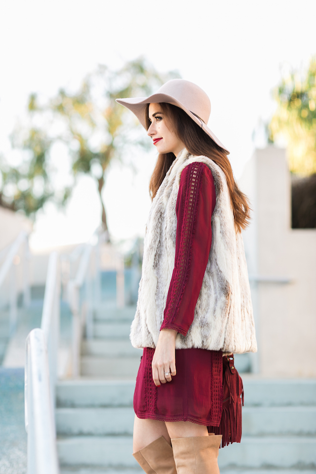 floppy hat with bohemian dress and vest M Loves M @marmar