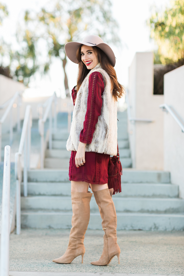 faux fur vest with burgundy dress and over the knee boots M Loves M @marmar