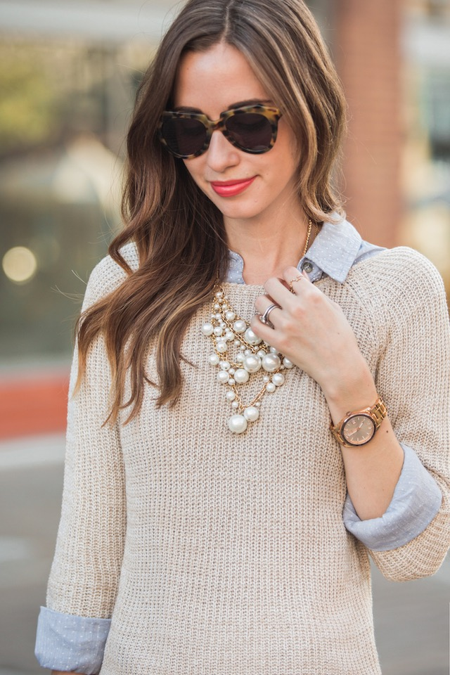 layered button up under sweater M Loves M @marmar