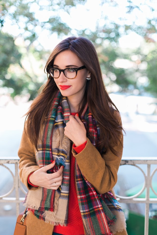 camel coat and plaid scarf M Loves M @marmar
