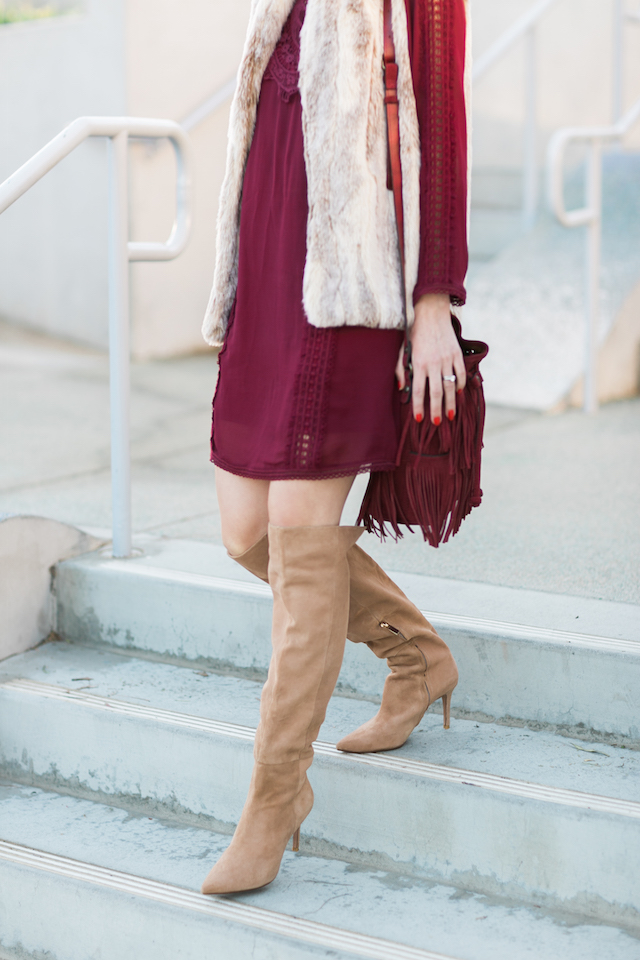 burgundy dress with taupe raye the label over the knee boots M Loves M @marmar