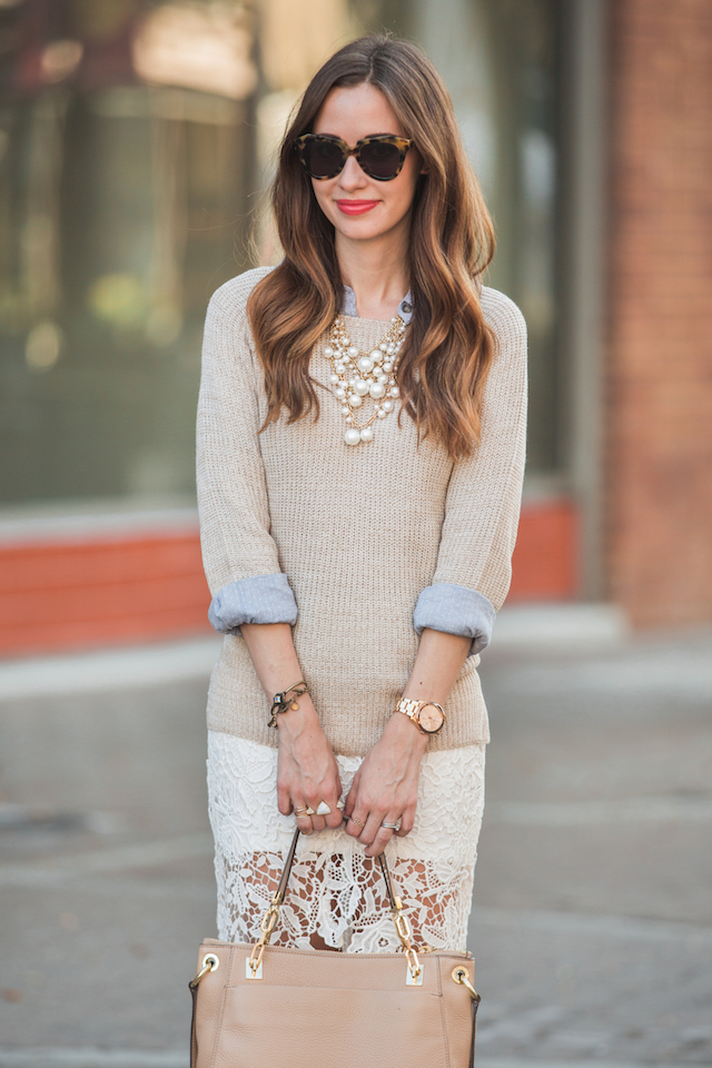 sweater with lace skirt outfit M Loves M @marmar