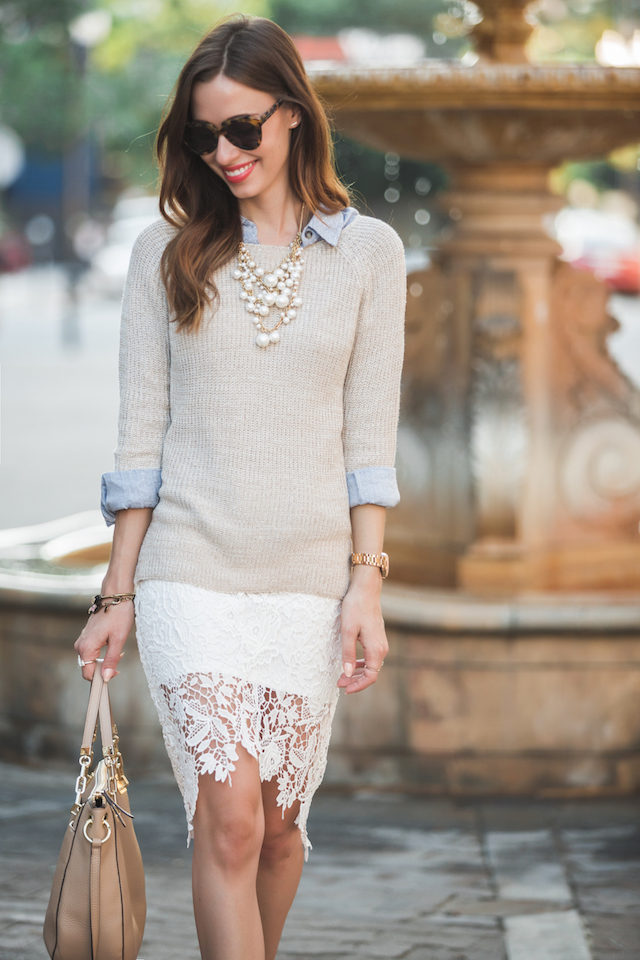 knit sweater with lace pencil skirt M Loves M @marmar