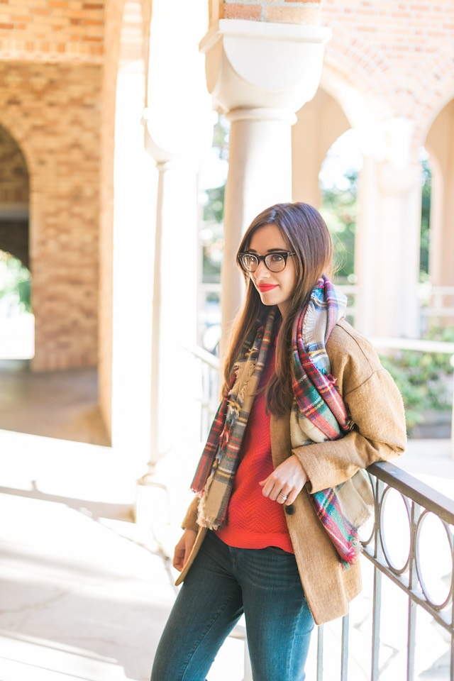 orange red sweater with camel coat fall outfit M Loves M @marmar