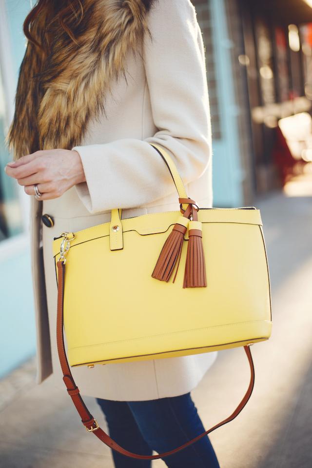 yellow tassel bag with faux fur collar coat M Loves M @marmar