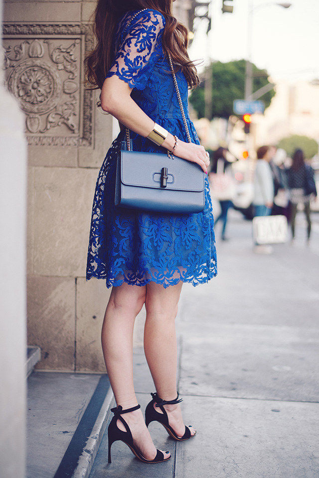 blue lace dress with gucci shoulder bag by M Loves M