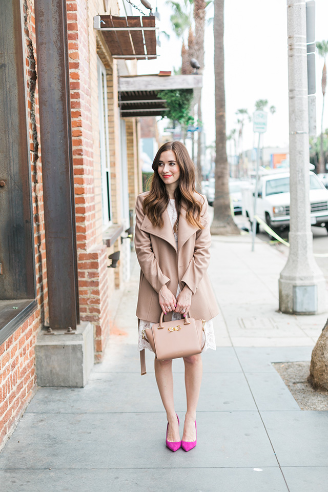 camel brown and pink outfit inspiration