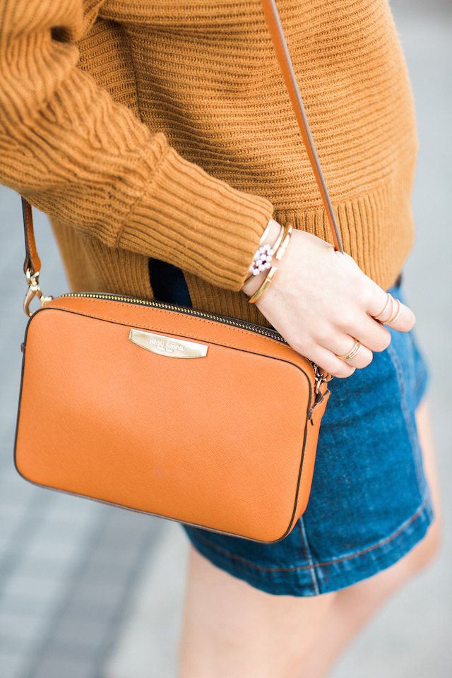 brown crossbody bag with mustard sweater by M Loves M